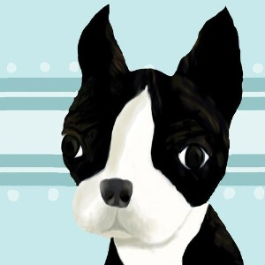 Oopsy Daisy Bea The Boston Terrier Blue Stretched Canvas Wall Art by Meghann O'Hara, 21 by 21-Inch...