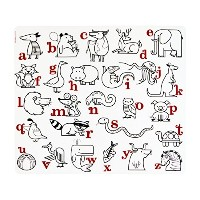 mini-twist Kids Silicone Coloring Placemat with 2 Markers, Alphabet Animals by modern-twist