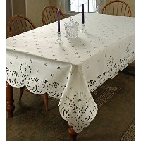 Daisy Design With Cutwork Tablecloth Ivory 70 by 105 Oblong / Rectangle by Violet Linen