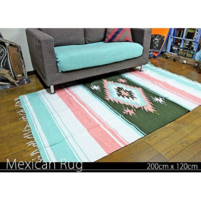 RUG&PIECE Native Mexican Rug ネイティブ柄 メキシカンラグ 200cm×120cm (rug-5560)