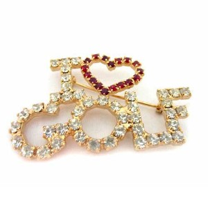Navika Ladies Swarovski Crystal I LOVE GOLF Pins【ゴルフ レディース>アクセサリー】