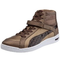Puma The Key Quilt Womens Leather Mid Top Sneakers / Shoes - White-Bronze-28.5