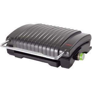 T-fal ティファール 4-Burger Curved Grill with Non-Stick Plates, Silver グリルプレート 【並行輸入品】