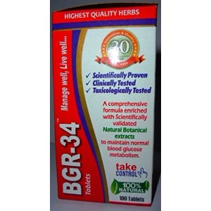 200 BGR-34 TABLETS (2 PACKs) 100% NATURAL HERBAL Blood Glucose Metaboliser Research product of C.S.I.R. by Artcollectibles India