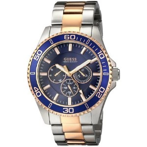 ゲス GUESS Men's U0172G3 Two-Tone Rose Gold-Tone Watch with Blue Mutli-Function Dial 男性 メンズ 腕時計 ...