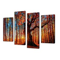 Large Red Tree Sunset Woods Canvas Painting Pictures Prints Photo Wall Art Decor - 4 Panel Framed...