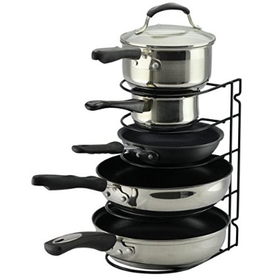 (BlackII) - Pan Rack Organiser Holder for Kitchen, Countertop, Cabinet, and Pantry (BlackII)