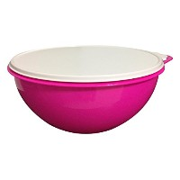 Tupperware 32 Cup Thatsa Bowl in Electric Hot Pink with Snow Seal, White by Tupperware