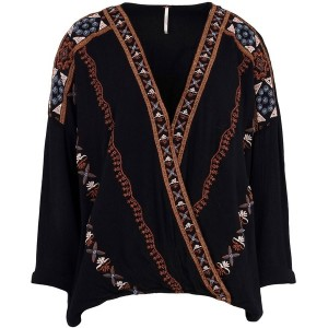 レディース FREE PEOPLE CRESCENT MOON EMBROIDERED BLOUSE ブラウス ブラック