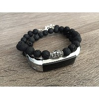 Small Double Wrap Black Natural Stones Bracelet For Fitbit Alta & Alta HR Fitness Activity Tracker...
