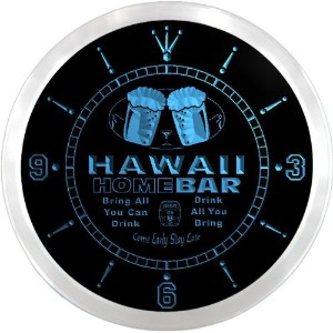 LEDネオンクロック 壁掛け時計 ncp2011-b HAWAII Home Bar Beer Pub LED Neon Sign Wall Clock