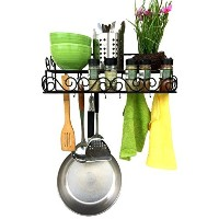 Alilaw Steel 2 Tier Pot Rack and 10 Hooks, 23.5 Inch, Black by Alilaw