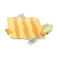 Young's Ceramic Fish Snack Plate with Fork, 6.75-Inch [並行輸入品]