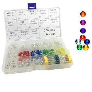 260pcs 5mm Assorted LEDライト発光ダイオード8色with Free 90pcs 3値抵抗器キット