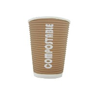 Renewables(TM) Ripple Grip 16 Oz Compostable Hot/cold Cup with Flip Top Lid - 50 Cups and 50 Lids-...