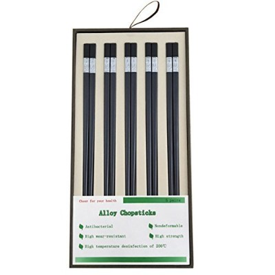 "(9.5""/24cm) - Alyan & Jammsy Reusable Alloy Chopsticks Chinese Non-toxic Gift Set for Kitchen and..."