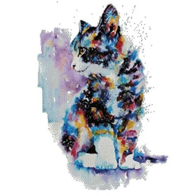 cat and colors counted cross stitch kits 14 ct, 猫と色、クロスステッチキット 220 x 299 ポイント、50x64cm クロスステッチ
