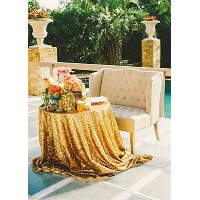 B-COOL Gold Sequin Tablecloth 50 Round Tablecloth for Wedding Wedding Tablecloth by B-COOL