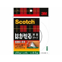 3M/スコッチ はがせる両面テープ 超透明 厚手 15mm×4m 10巻