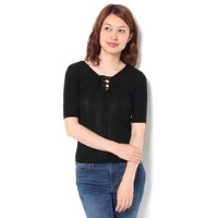 2WAY LACE UP SHEER TOP【マウジー/MOUSSY レディス Tシャツ・カットソー BLK ルミネ LUMINE】