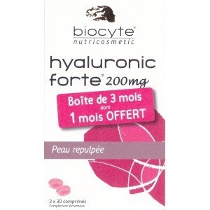 Biocyte Hyaluronic Forte 200mg Moisturizing Plumping 3 x 30 Tablets by Biocyte