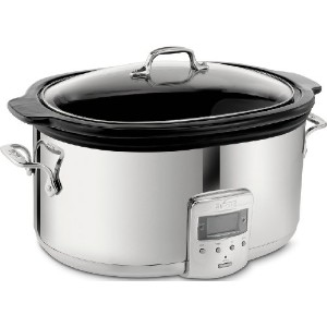 All-Clad SD700450 Programmable Oval-Shaped Slow Cooker with Black Ceramic Insert and Glass Lid, 6.5...