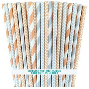 Outside the Box Papers Peach and Silver Chevron and Stripe Paper Straws 7.75 Inches Peach, Silver,...