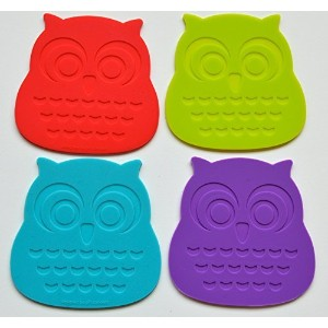 Set of 4 Stylish and Cool Owl Coasters. Buy Our Silicone Coasters That Protect Your Tabletop...