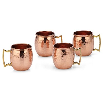 Modern Home Authentic 100% Solid Copper Hammered Moscow Mule Mug 60ml Shot Glass - Set of 4