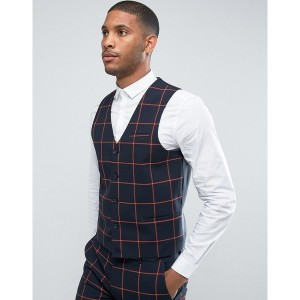 エイソス メンズ ジャケット&ブルゾン アウター ASOS Super Skinny Suit Waistcoat In Navy With Orange Windowpane Check Navy