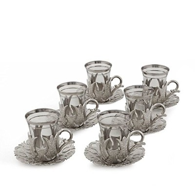 (For 6 w/o Tray, Silver) - HIGH END Silver plated Tea Glasses Set for 6 - Made in Turkey - 18...