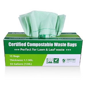 primode Compostableバッグ、芝と葉Extra Largeゴミ袋、100% astmd6400認定生分解性堆肥バッグ33ガロン、Certificated by US...