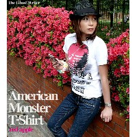 American Monster(red apple) Tシャツ-The Ghost Writer-tgw033tee-rd-G-RR- PUNK ROCK パンクT ロックT 林檎 リンゴ...