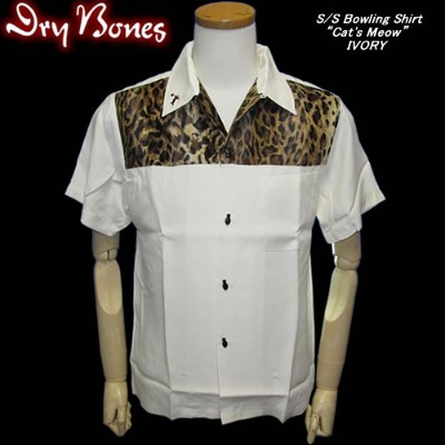 "◆DRY BONESドライボーンズS/S Bowling Shirt ""Cat's Meow""IVORY"