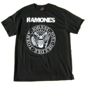 RAMONES Tシャツ LOOK OUT 白ロゴ  黒