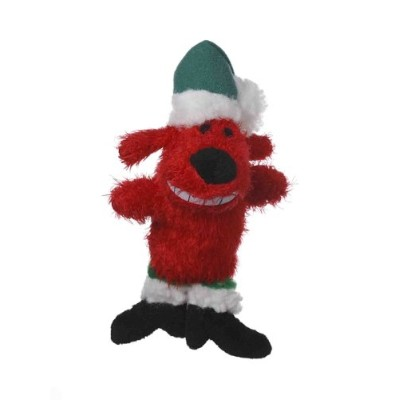 Multipet's Red 6-Inch Santa Loofa Plush Dog Toy That Squeaks by Multi Pet