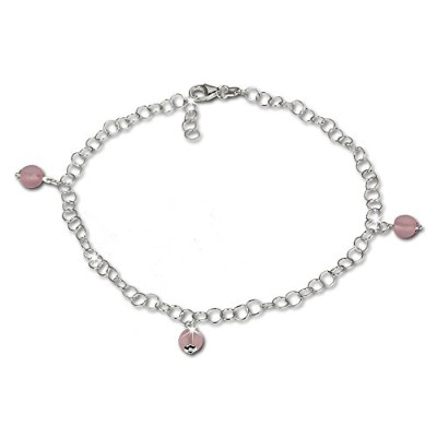 SilberDream Anklet with Tinyピンク曇りガラスビーズ、925スターリングシルバー9.8インチsdf011a