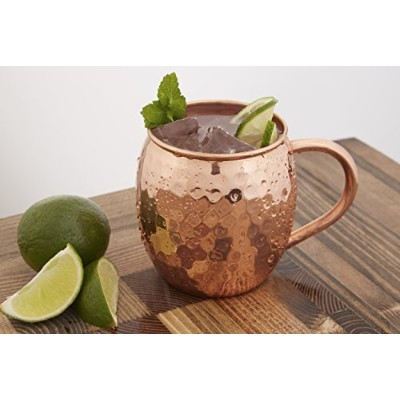 Pure Copper Moscow Mule Mugs (Set of 2) - 16 Oz - Includes Copper Shot Glass - No Nickel Lining -...