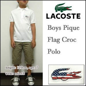 LACOSTE/ラコステ/ポロシャツ/キッズ/ボーイズ/PJ9502-51/フラッグス/国旗/アメリカ/BOYS Pique Flag Croc Polo/ジュニア/子供 05P03Dec16
