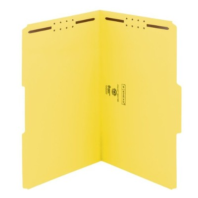 Folders, Two Fasteners, 1/3 Cut Assorted, Top Tab, Legal, Yellow, 50/Box (並行輸入品)