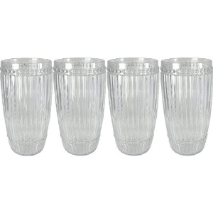 Le Cadeauxミラノ4Piece Highball Setクリア粉砕Proof Glassware