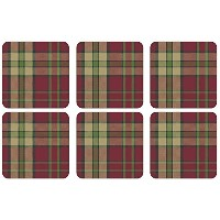 Pimpernel Glen Lodge Tartan Redコースター – セットof 6