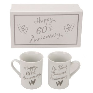 60th Diamond Anniversary Gift Boxed磁器マグカップby Haysom Interiors