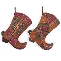 Western Cowboy BootクリスマスストッキングAssortedセットof 2–Xmas Holiday暖炉Hanging Decoration