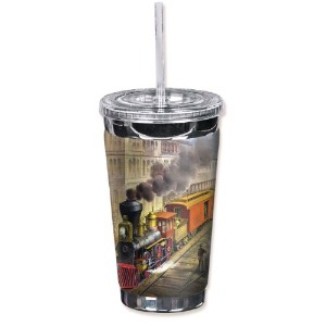 """Mugzie 891-tgc """" Currier&Ives Train """" to go Tumbler with Insulatedウェットスーツカバー、16オンス、ブラック"""
