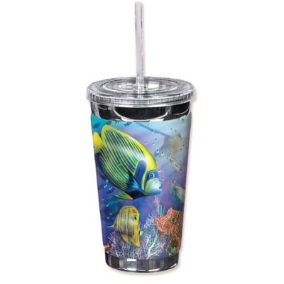 """Mugzie 713-tgc """" Angels of the Sea """" to go Tumbler with Insulatedウェットスーツカバー、16オンス、ブラック"""