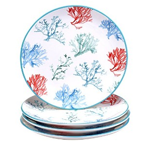 Certified International by Lisa Audit水コーラルSet of 4 Dinner Plates 11""