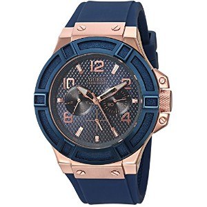 GUESS[ゲス] MODEL NO.u0247g3 Rigor Standout Sport Blue and Rose Gold MENS U0247G3 ローズゴールド×ブルー シリコンバンド...