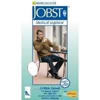 Men's 20-30 mmHg Firm Casual Knee High Support Sock Size: Medium Tall, Color: Black by Jobst