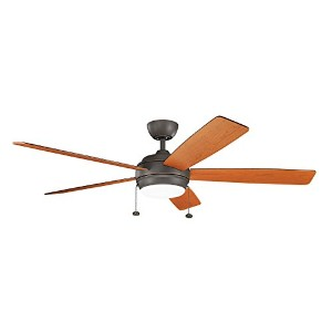 "Kichler 330180 Canfield 60 "" 5 Blade Ceiling Fan withブレードとLEDライトキット、 ブロンズ 330180OZ 1"